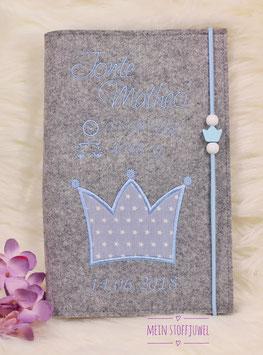 Personalisierte U-hefthülle Krone hellblau mit Geb.datum,Uhrzeit, Gewicht