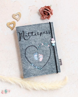Mutterpasshülle Blütenherz mit Babyfüßchen , Holzperle Weißes Herz, rosa, hellblau