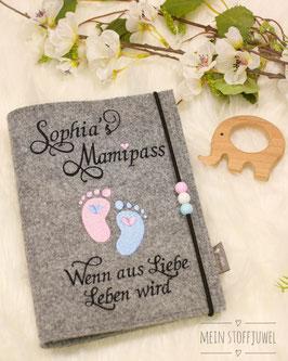 Mutterpasshülle personalisiert Mamipass Babyfüßchen rosa, hellblau (Bsp. Sophia)