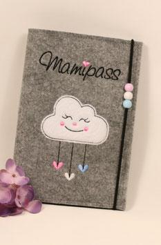 Mamipasshülle  Wolkenmädchen rosa, weiß und, hellblau mit 3 Perlen