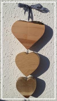 Herzen 3-erlei (3 Größen & 3 unterschiedliche Holzarten)
