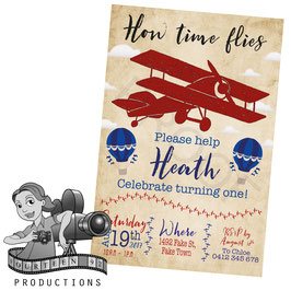 Vintage Planes & Balloons: Red & Blue