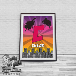 Monogram Superhero Poster; A4 Print, Pink & Purple