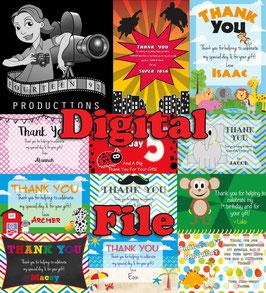 Jungle Animal: Thank You Card  - DIGITAL PDF FILE