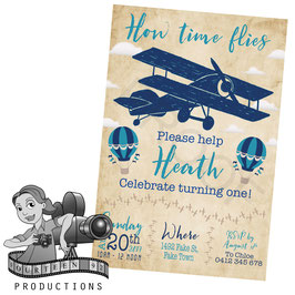 Vintage Planes & Balloons: Blue & Beige