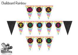 Digital PDF File Bunting Banner: Chevron Rainbow