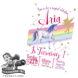 Watercolour & Gold Unicorn & Fairy Invites