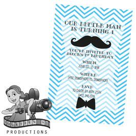 Little Man - Blue & White Invites