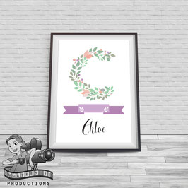 Monogram Floral Poster; A4 Size
