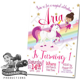Cartoon Unicorn  & Fairy Invites