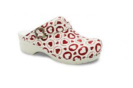 Sanita klompen Flex Working Heroes rood-wit met riempje 8695 Valentijn