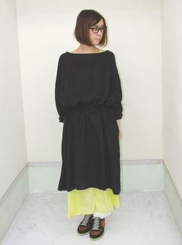 商品名:ソフト ワッシャー カラー リネン タンブラー加工 ボックス ワイド 2WAY ドレス「ブラック」