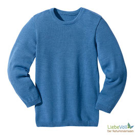 Basic-Pullover, blau, Merinoschurwolle, von disana made in Germany