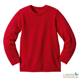 Basic-Pullover, rot, Merinoschurwolle, von disana made in Germany