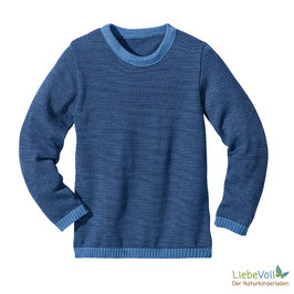 Basic-Pullover, blau melange, Merinoschurwolle, von disana made in Germany