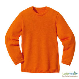Basic-Pullover, orange, Merinoschurwolle, von disana made in Germany