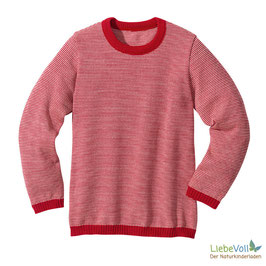 Basic-Pullover, rot melange, Merinoschurwolle, von disana made in Germany