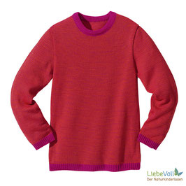 Basic-Pullover, beere melange, Merinoschurwolle, von disana made in Germany