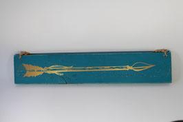 Flèche patinée bleue/or