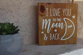 Panneau carré Love U To The Moon