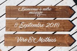 Kit 3 panneaux Bienvenue à notre mariage, prénoms et date + Piquet