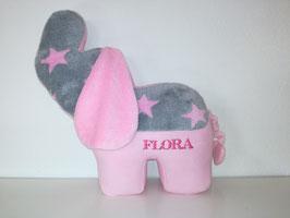 Personalisierbares Tier- Kissen Elefant, Namenskissen in Wunsch-Design, 40cm rosa-grau