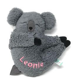 Kleines Stofftier für deine Spieluhr Koala Bear,  Gr. 25 cm, Teddy Baumwolle Öko Tex 100, grau, personalisierbar mit Namen und Wunschmelodie/KuKoTBW25