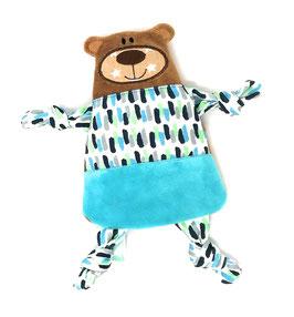 Personalisiertes Wärm- Kissen Teddy Bär mit Namen, 20cm, mit entnehmbaren Bio- Kirschkern Kissen.
