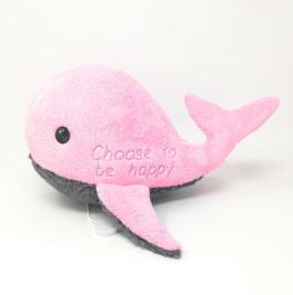 Personalisiertes Kuscheltier mit Namen Wal. Stofftier für Spieluhr  Wal, 25cm, in rosa