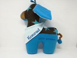 Personalisierbares Tier- Kissen Giraffe mit Halstuch, Namenskissen in Wunsch-Design, 40cm türkise Sternchen-braun
