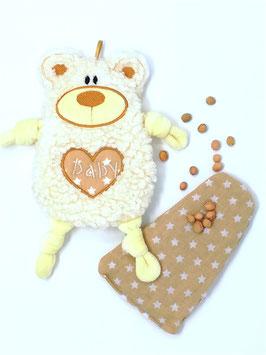 Wärm- Kissen mit Namen Teddy Bär, 20cm, aus kuscheligen Teddy Plüsch in Öko Qualität