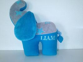 Personalisierbares Tier- Kissen Elefant, Namenskissen in Wunsch-Design, 40cm türkis Sternchen-türkis