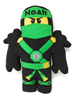 Namenskissen Ninja  Ninjago, bestickt mit Text  deiner Wahl, grün
