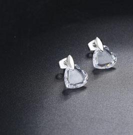 Boucles d'Oreilles Coeur Cristal (réf : XA36)