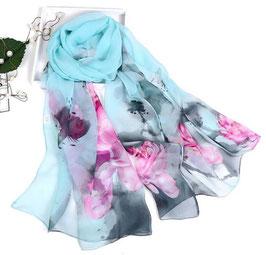 Foulard Bleu avec des Fleurs (Réf : FB3)