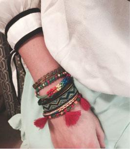 Bracelet Manchette Bohème Pompon