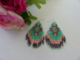 Boucles d'Oreilles Perles Rocaille Vertes (réf : S4)