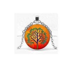 Collier Arbre de Vie Orange et Vert (réf : 2Z)