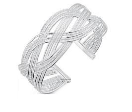 Bracelet Tressé Plaqué Argent (réf : 1344BT)