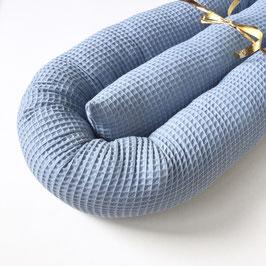 Bettschlange Waffelpique blau/grau