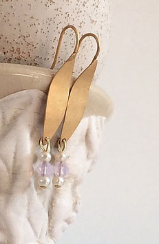 Matt vergoldete und versilberte Ohrhänger mit Swarovski oder Hämatitsternchen