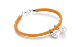 Casual-Pearl Lederarmband orange