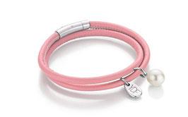 Happy-Pearl Lederarmband rosa