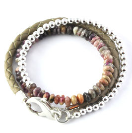 "Armband 3-fach ""Achat"" Taupe"