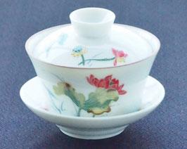 多彩色 浮彫風 蓮の図柄 蓋碗 大 (140ml)698