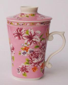 茶漉し付きマグカップ300mlタイプ 牡丹の花  桃色 583