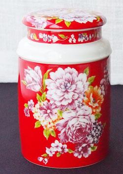 茶筒 富貴紅牡丹図柄 300g用(特製金箔押豪華ギフト箱入)720