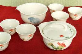 携帯ポーチ付き 高級蓋碗・茶海・茶杯6客 鮮やかな蓮の花図柄  266