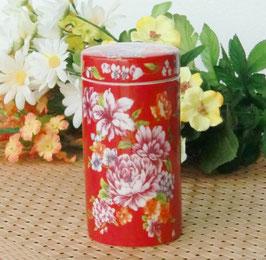 茶筒 鮮やかな紅牡丹図柄 375 (簡易包装)