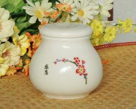 陶磁器製茶筒 4点シリーズ 【紅梅の花】 581